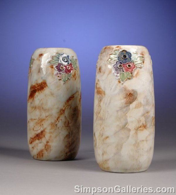 1022: A PAIR OF ROYAL DOULTON GLAZED STONEWARE VASES by