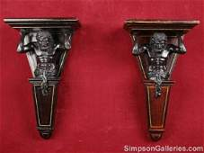 1271 A PAIR OF CONTINENTAL PATINATED METAL AND PARCEL
