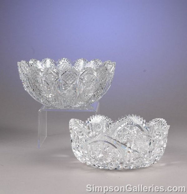 1308: TWO CONTINENTAL CUT CRYSTAL SERVING BOWLS, late 2