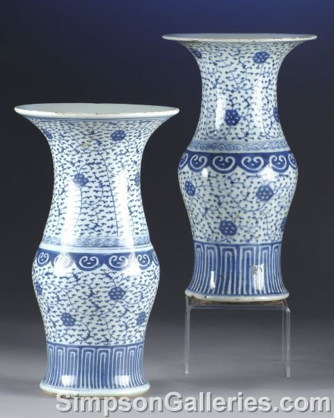 7: A MATCHED PAIR OF CHINESE BLUE AND WHITE VASES,  Qia