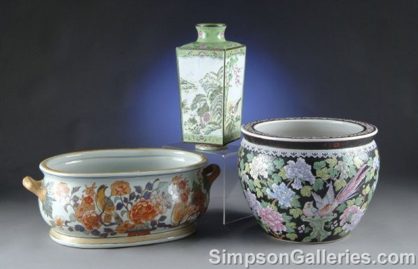 12: A GROUP OF THREE CHINESE WARES, second half 20th ce