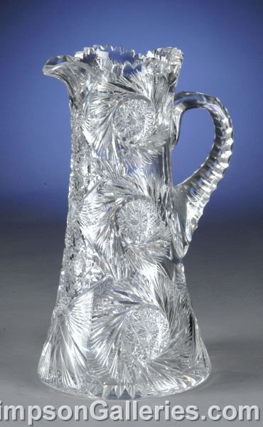 16: A LARGE AMERICAN CUT CRYSTAL PITCHER, the sides hea