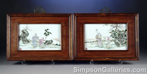41: TWO CHINESE FAMILLE ROSE ENAMELED PORCELAIN PLAQUES
