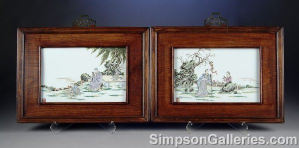 53: TWO CHINESE FAMILLE ROSE ENAMELED PORCELAIN PLAQUES
