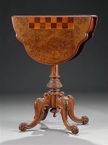 10: A VICTORIAN BURL WALNUT DROP-LEAF GAMES TABLE, the