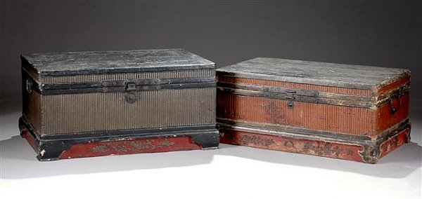14: TWO ANTIQUE CHINESE BLACK AND RED PAINTED LEATHER T