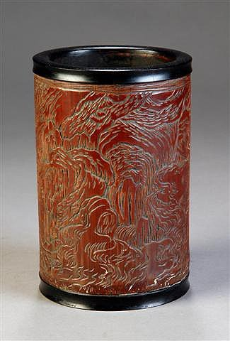 17: AN ANTIQUE CHINESE CARVED BAMBOO BRUSH POT, dated 1