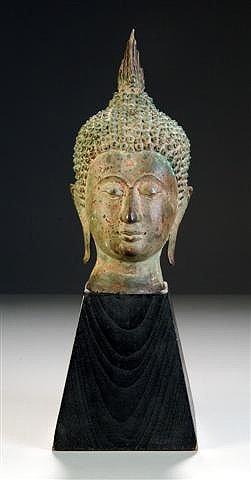 21: A THAI VERDIGRIS PATINATED BRONZE BUST OF BUDDHA, 2