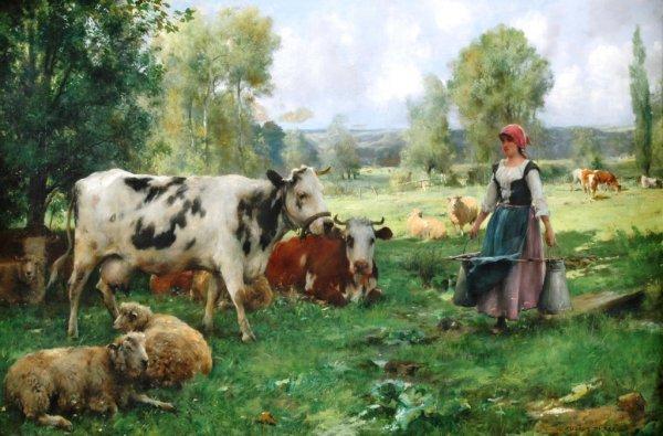 """325: JULIEN DUPRÉ (French 1851-1910)  A PAINTING, """"Femm"""