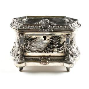 A RENAISSANCE REVIVAL SILVER PLATED JEWELRY CASKET, BY