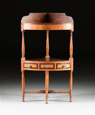 A FEDERAL FIGURED MAPLE AND MAHOGANY CORNER WASH STAND,