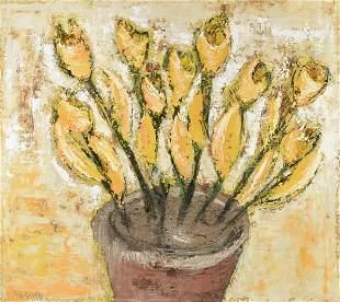 "ROBERT BOURASSEAU (French b. 1956) A PAINTING, ""Fleur"
