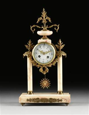 A LOUIS XVI REVIVAL GILT BRONZE AND MARBLE CLOCK,