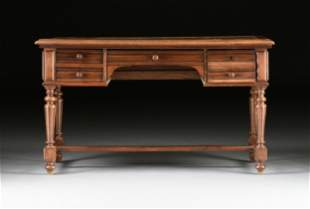 A FRENCH LOUIS XVI STYLE OAK LEATHER TOP LIBRARY DESK,