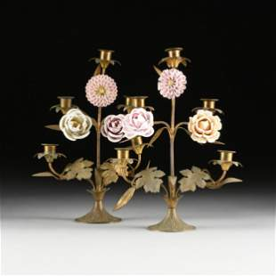 A PAIR OF VINTAGE BRASS AND PORCELAIN FLOWER BLOOM
