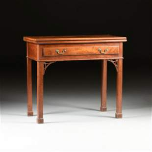 AN AMERICAN CHIPPENDALE CHERRY GATELEG GAME TABLE, LATE