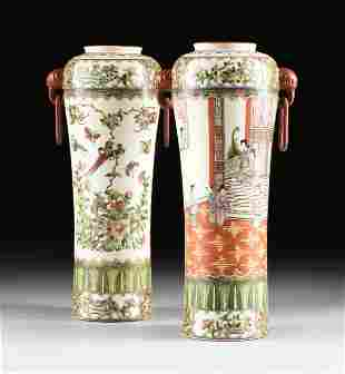 A PAIR OF VINTAGE CHINESE FAMILLE ROSE PORCELAIN VASES,