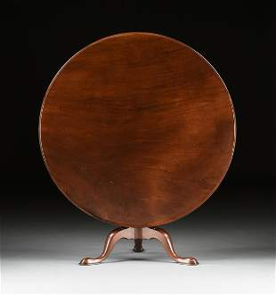 A QUEEN ANNE FLAME MAHOGANY TILT-TOP BREAKFAST TABLE,