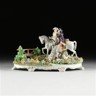A GERMAN PORCELAIN FIGURAL GROUP, SITZENDORF, EARLY/MID