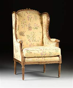 A LOUIS XVI STYLE GILTWOOD AND SCALAMANDRÉ UPHOLSTERED
