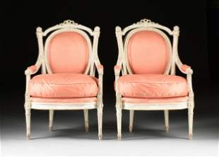 A PAIR OF LOUIS XVI STYLE WHITE PAINTED WOOD AND