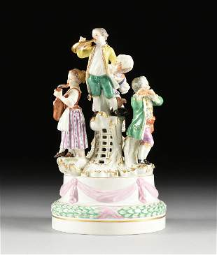 """A MEISSEN PORCELAIN FIGURAL GROUP, """"REVELRY,"""" AFTER A"""