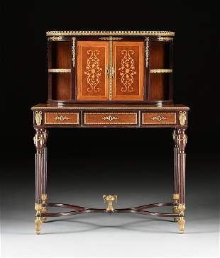 AN ENGLISH ORMOLU MOUNTED AND MARQUETRY INLAID MAHOGANY