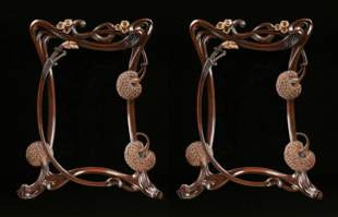 A PAIR OF ART NOUVEAU STYLE GILT AND CARVED WOOD