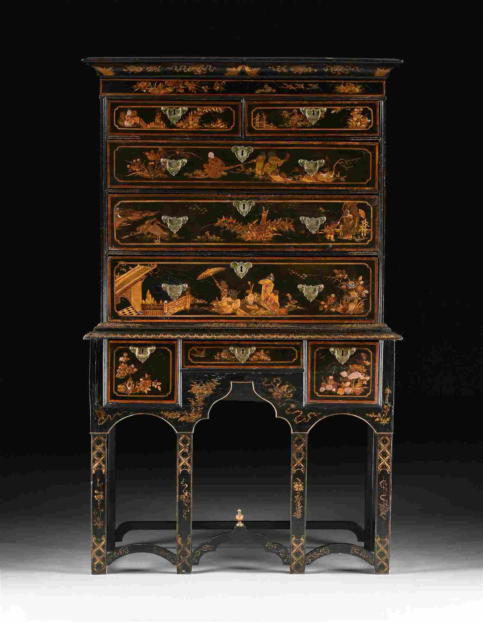 A WILLIAM AND MARY GILT AND BLACK JAPANNED CHEST ON
