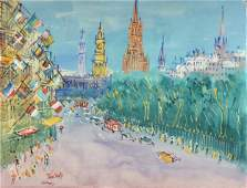 """JEAN DUFY (French 1888-1964) A PAINTING, """"Edinburgh en"""