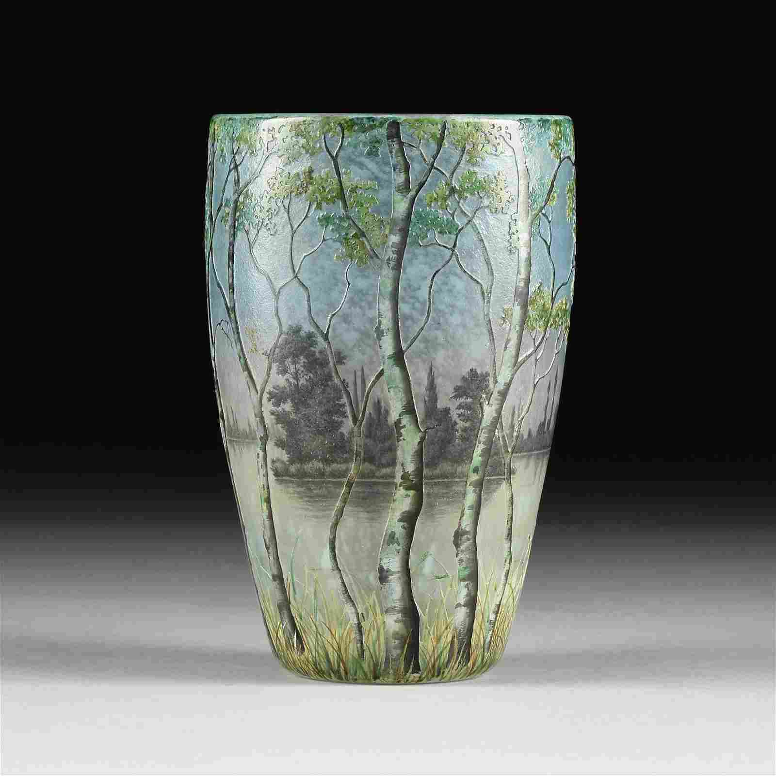 A DAUM NANCY ACID ETCHED AND ENAMELED GLASS LAKESHORE