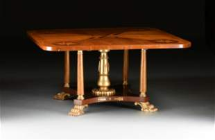 A BALTIC NEOCLASSICAL STYLE INLAID MAHOGANY, SATINWOOD,