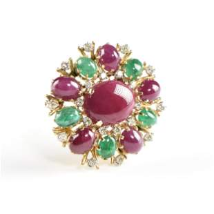 A VINTAGE FRENCH YELLOW GOLD, DIAMOND, RUBELLITE, AND