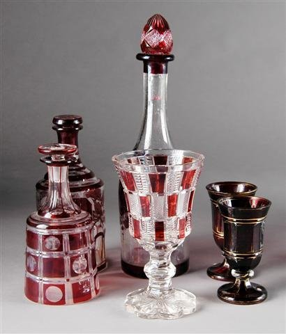 1: A GROUP OF BOHEMIAN RUBY FLASH GLASS WARES, late 19t