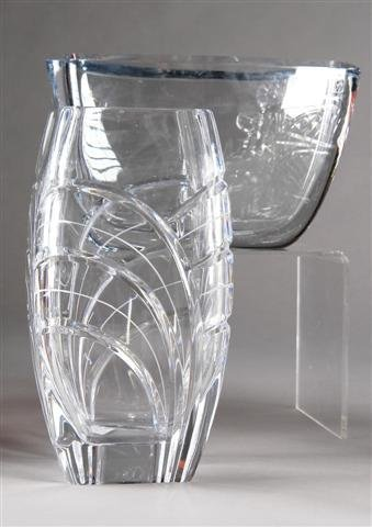 2: TWO CONTINENTAL CUT CRYSTAL VASES, late 20th century