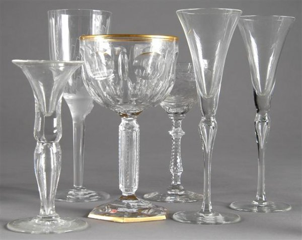4: A GROUP OF MISCELLANEOUS CUT AND MOLDED GLASS STEMWA