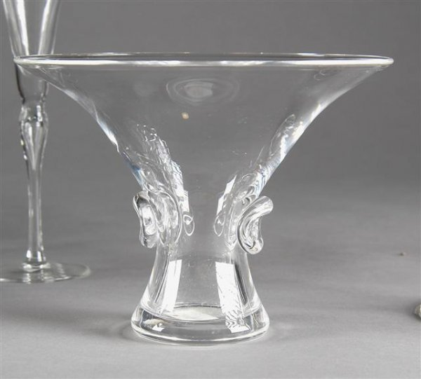 5: A STEUBEN CRYSTAL VASE, late 20th century, of flarin