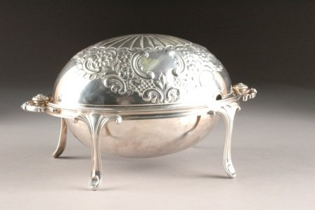 18: A SHEFFIELD SILVER PLATE VEGETABLE STEAMER by J. Di