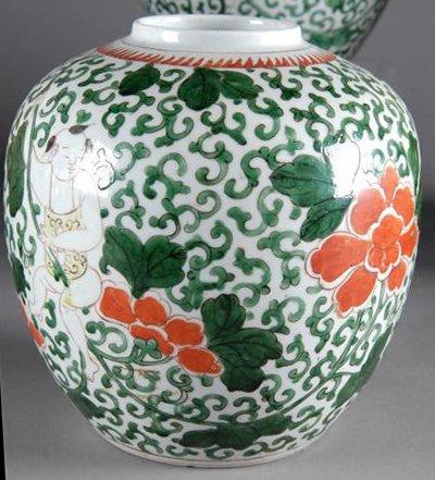 22: A PAIR OF CHINESE WUCAI PORCELAIN JARS, each enamel