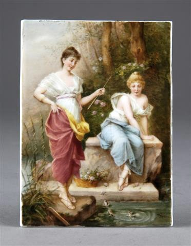 262: A CONTINENTAL FINELY PAINTED PORCELAIN PLAQUE, pos