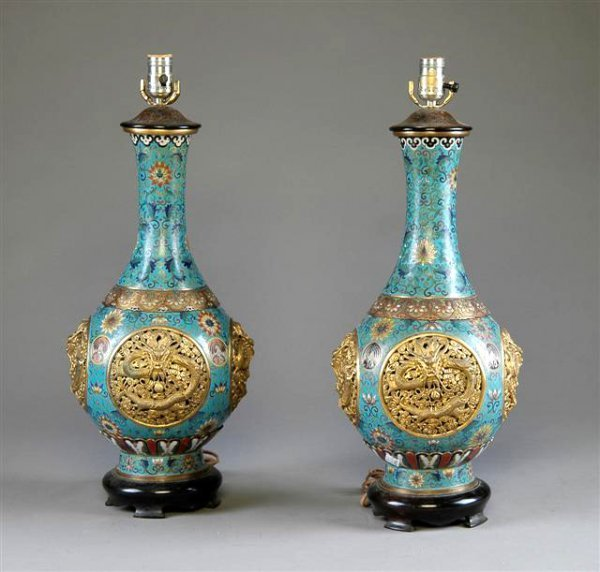 293: A PAIR OF CHINESE ENAMELED AND GILT CLOISONNÉ VASE