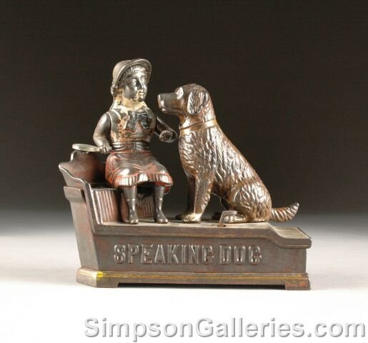 "3: AN ANTIQUE AMERICAN CAST-IRON ""SPEAKING DOG"" MECHANI"