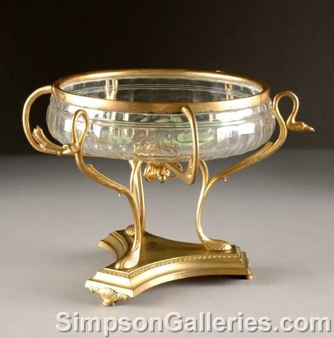 11: AN EGYPTIAN REVIVAL GILT METAL AND CUT GLASS CENTER