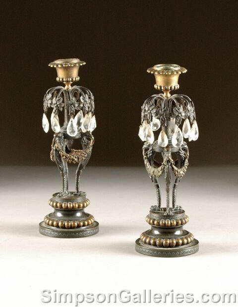 12: A PAIR OF NEOCLASSICAL STYLE GILT AND PATINATED BRO