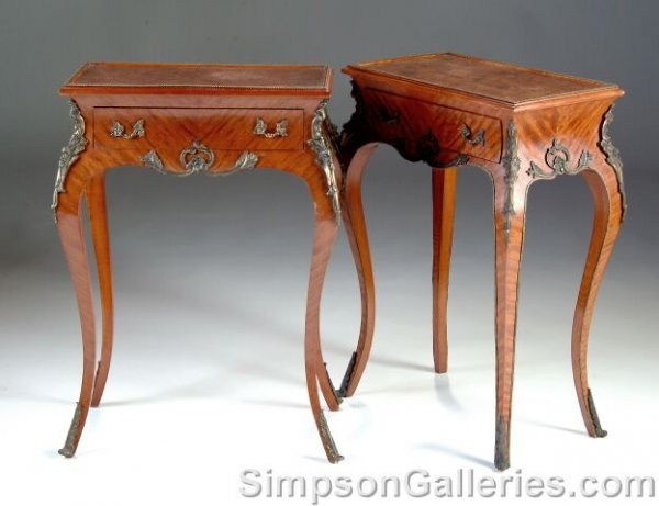 14: A PAIR OF LOUIS XV STYLE BRONZE MOUNTED BURL WALNUT