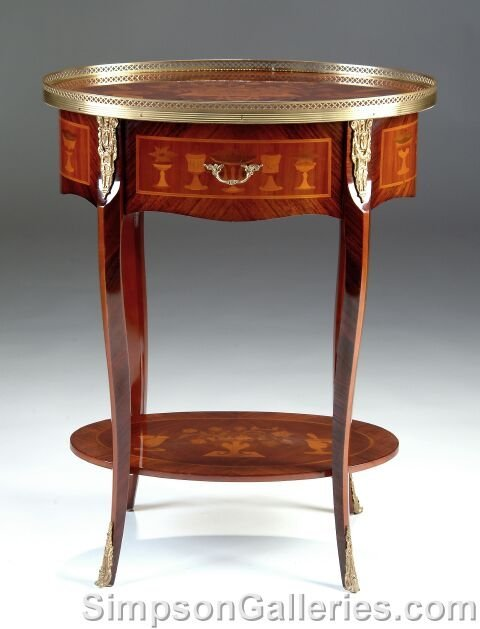 15: A LOUIS XV STYLE GILT BRONZE MOUNTED ROSEWOOD AND S