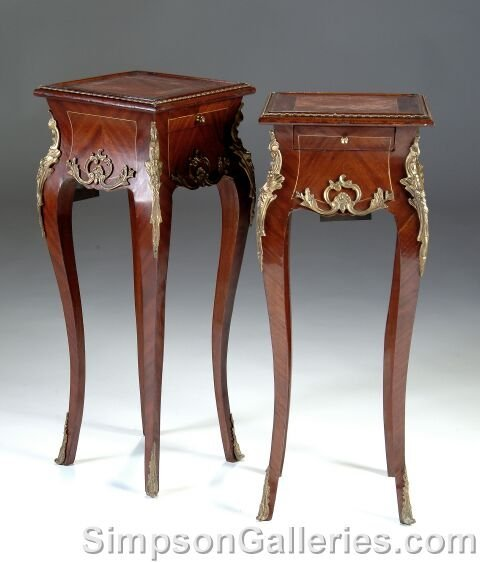 18: A PAIR OF LOUIS XV STYLE GILT BRONZE MOUNTED MAHOGA