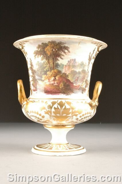 20: A DERBY CAMPANA SHAPED VASE, circa 1790-1820, paint