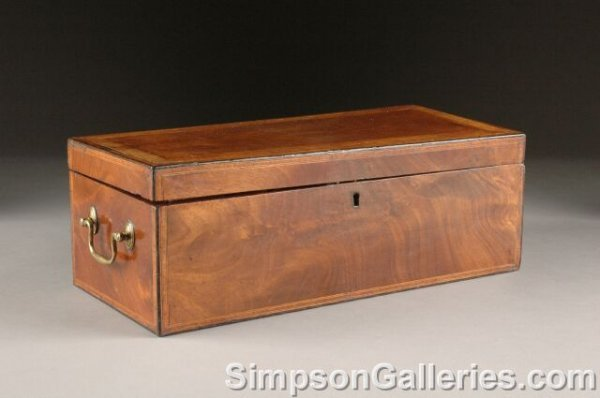 22: A GEORGE III FLAME MAHOGANY PARQUETRY TEA CADDY, la