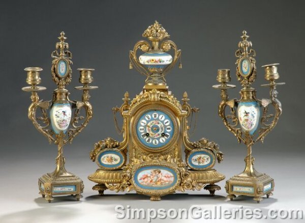 159: A VICTORIAN GILT METAL MOUNTED SÈVRES STYLE CLOCK